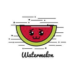 Emblem kawaii sad watermelon icon vector