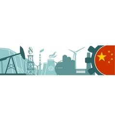 Energy and Power icons set China flag vector