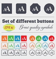 Enlarge font AA icon sign Big set of colorful vector