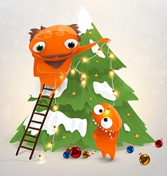 Family Putting Up Christmas Tree Cartoon vector
