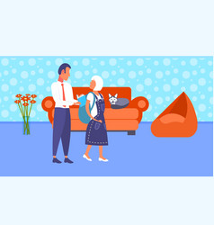father helping little daughter packing backpack vector image