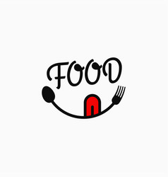 Food smile logo food lettering with eyes vector