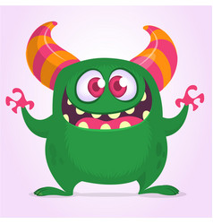 Funny cartoon monster waving hands excited vector