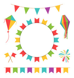 Garland with colorful flags carnival or festival vector