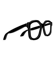 Glasses black flat drawing side view vector