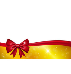 Gold gift card with red ribbon bow isolated on vector