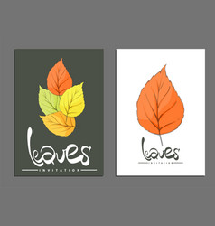 golden leaves covers vector image