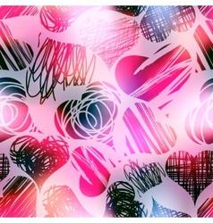 Grunge hearts on blur pink background vector