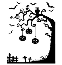Halloween background with dead tree silhouette vector