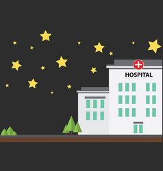 hospital building at night with star vector image