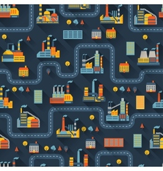 Industrial factory buildings seamless pattern vector