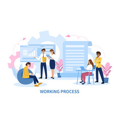 Infographic a business teams working process vector