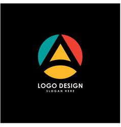 initial a logo circle design vector image
