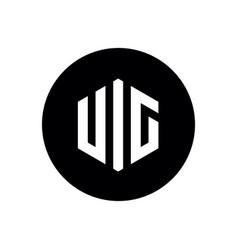 initial letter uic logo hexagon letter on black c vector image