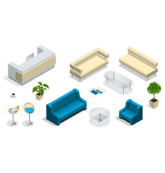 isometric set of modern office furniture modern vector image