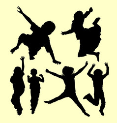 jumping and playing silhouette vector image