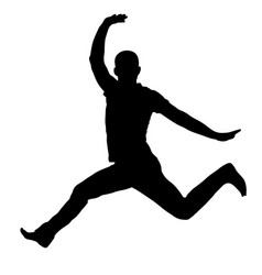 jumping man with wide opened hands silhouette vector image