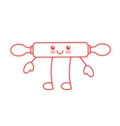 Kitchen wooden roller kawaii character vector