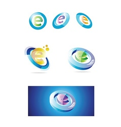 Letter e logo set 3d vector image
