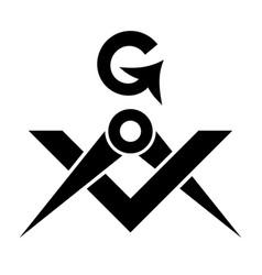 Masonic square and compasses sacral emblem vector