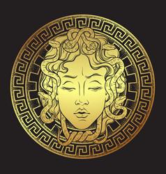 Medusa gorgon golden head on a shield hand drawn vector