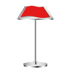 Metal stand on which lies a sheet of red paper vector