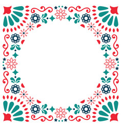 Mexican folk greeting card wedding vector
