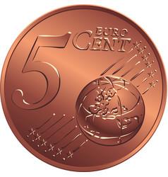 Money bronze coin five euro cent vector