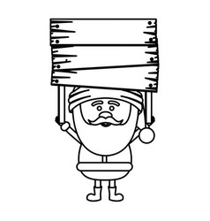 monochrome contour of santa claus with wooden vector image
