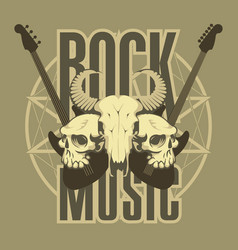 Music emblem with skulls guitars and pentagram vector