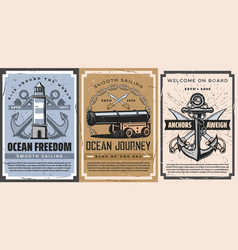 Nautical anchor sailboat chain cannon posters vector