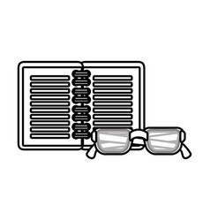 notebook and glasses school supply icon vector image