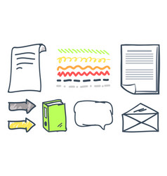 Office paper and arrowheads isolated icons vector