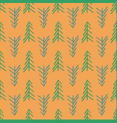 orange herringbone tree seamless repeat pattern vector image