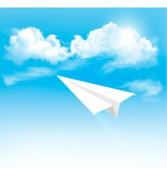 Paper airplane in the sky with clouds vector image