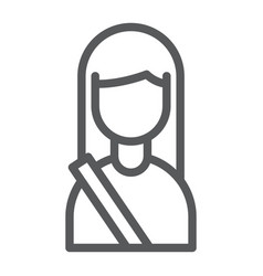 passenger line icon human and taxi girl sign vector image