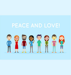 Peace and love group of people diversity diverse vector