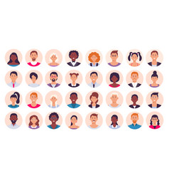 people avatar smiling human circle portrait vector image
