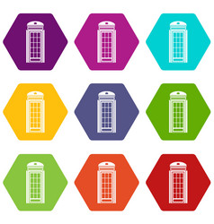 phone booth icon set color hexahedron vector image