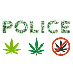 Police caption mosaic of cannabis vector