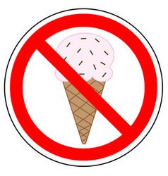 Prohibited sign ice cream vector