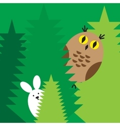 rabbit owl icons vector image vector image
