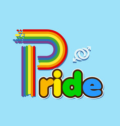 rainbow pride text male homosexuality symbol blue vector image