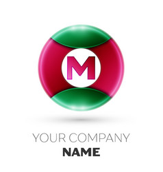 Realistic letter m logo in colorful circle vector