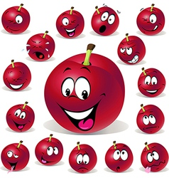Red plum cartoon with many expressions vector