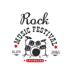 Rock music festival logo 1804 black and red vector