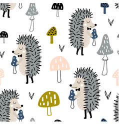 seamless childish pattern with cute hedgehog vector image