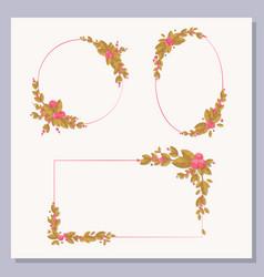 set decorative frames with floral elements vector image