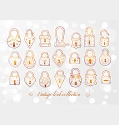 set doodle vintage locks on white glowing vector image