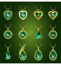 Set of green emerald pendants vector image